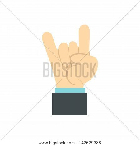 Gesture rock musician icon in flat style isolated on white background. Gestural symbol