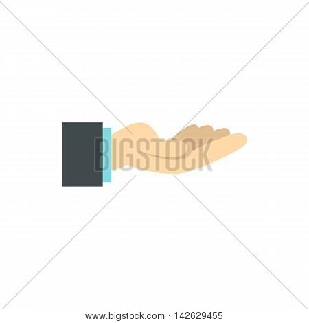 Gesture of charity icon in flat style isolated on white background. Gestural symbol