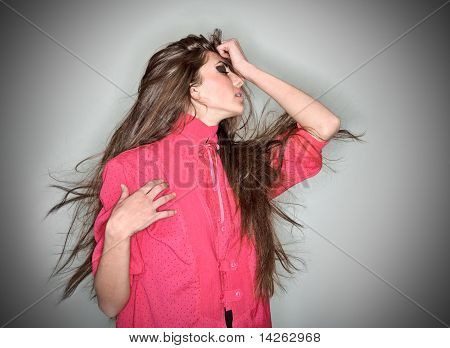 Sorrowful Brunette Woman Dressed In Pink Blouse With Long Hairs, Ring Flash Studio Portrait On White