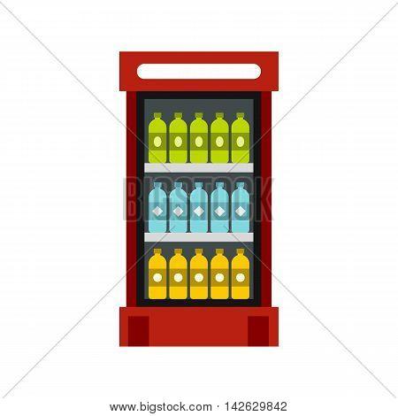 Fridge with drinks icon in flat style isolated on white background. Storage symbol
