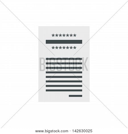 Store check icon in flat style isolated on white background. Purchase symbol