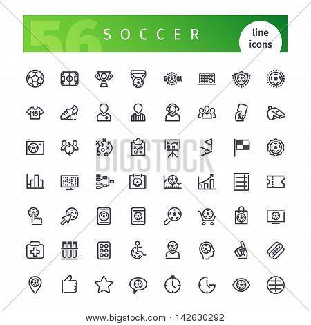 Set of 56 soccer line icons suitable for web, infographics and apps. Isolated on white background. Clipping paths included.