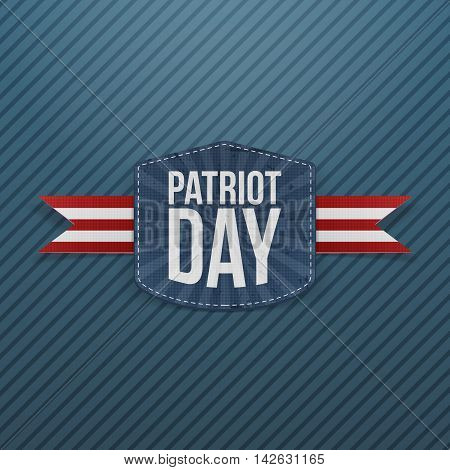 Patriot Day realistic Emblem with Ribbon. Vector Illustration