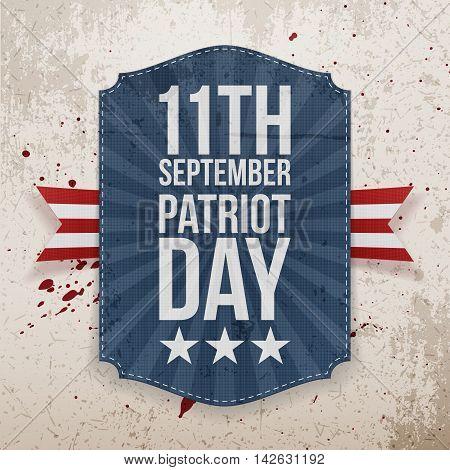 September 11th Patriot Day paper Tag. Vector Illustration