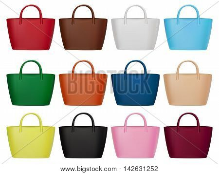 Women bags set. Trendy fashion accessories vector collection. Different colors elegant handbags for every season. Isolated on white illustration for beauty or fashion design.