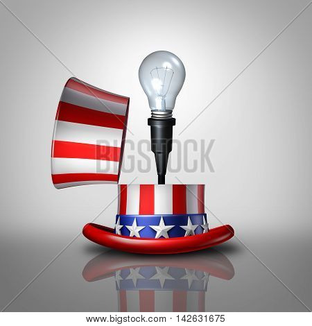 American idea concept as an open United States flag hat with a lightbulb emerging out as a national symbol for invention and creative ideas or election campaign policy strategy as a 3D illustration.