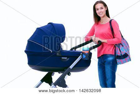 Full length portrait of a mother with a stroller, isolated on white background