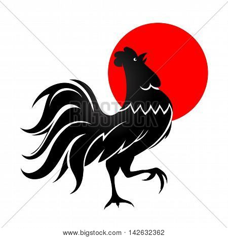 Cock silhouette with morning sun. Early bird concept drawing with cockerel