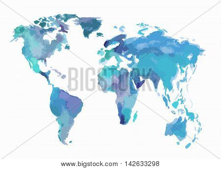 Watercolor blue world map. Beautiful map with lands and islands. Watercolor illustration for decoration.