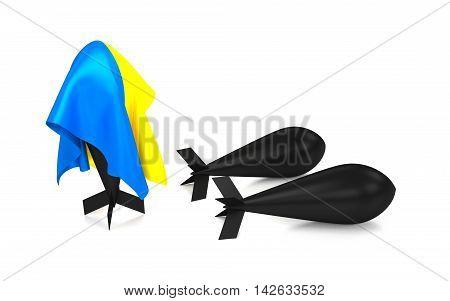 A bomb hidden under a Ukraine flag. 3D rendering