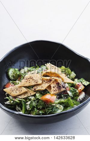 fatoush fattoush traditional classic famous lebanese middle eastern salad