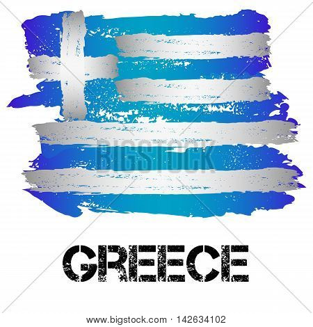 Flag of Greece from brush strokes in grunge style isolated on white background. Country in Southern Europe. Vector illustration
