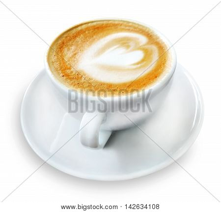 Cup of coffee or cappuccino, isolated on white background.