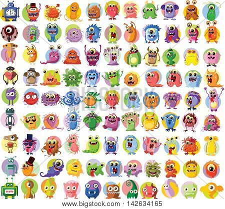 Set of 99 vector cute monsters and robots