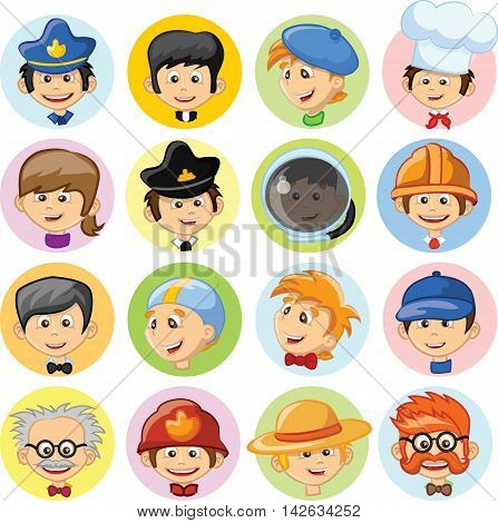 Vetor  set of Cartoon characters of different professions