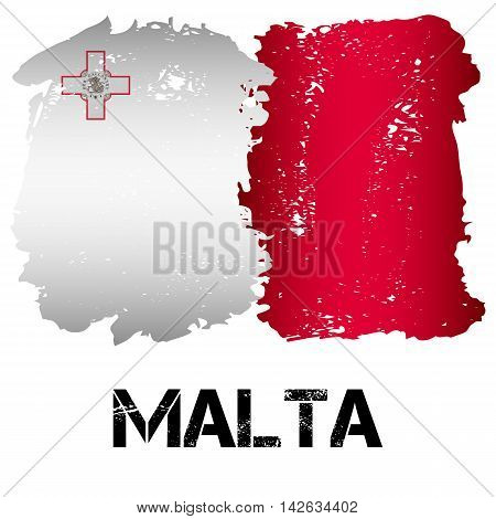 Flag of Malta from brush strokes in grunge style isolated on white background. Country in Southern Europe. Vector illustration