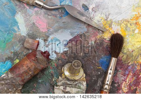 a Paint brush and old wooden pallet