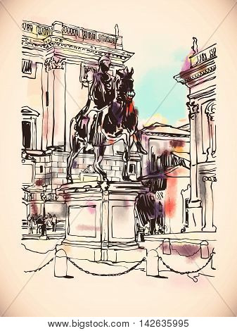 sketch digital drawing of Rome Italy cityscape with sculpture equestrian statue and historical building, vector illustration