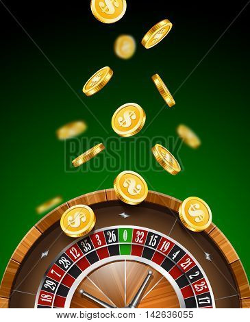 Casino background with roulette and falling golden coins.