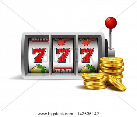 Slot machine with lucky seven and golden coins isolated on a white background.