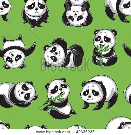 Seamless cartoon wallpaper with cute pandas isolated on green background