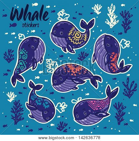 Cartoon whale sticker set. Collection of stickers with whales in a marine style. Hand drawn vector illustration