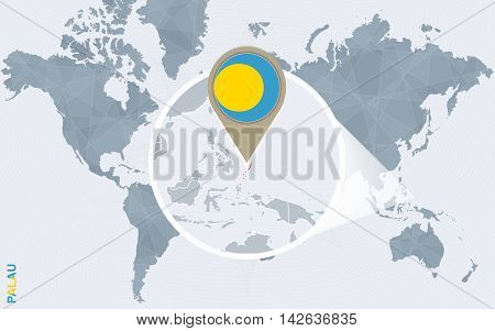 Abstract Blue World Map With Magnified Palau.