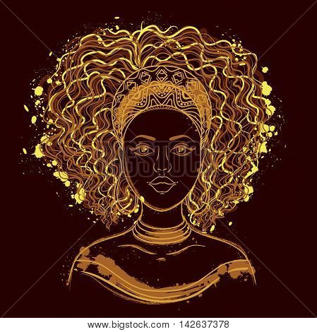 Portrait of African woman. Hand drawn vector illustration.