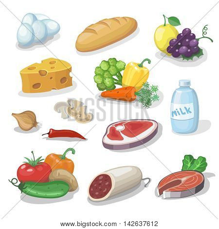 Common everyday food products. Cartoon icons set provision, cheese and fish, sausage, vegetables, milk, bread illustration