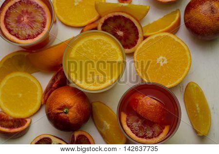 Sicilian Blood Oranges On White Background