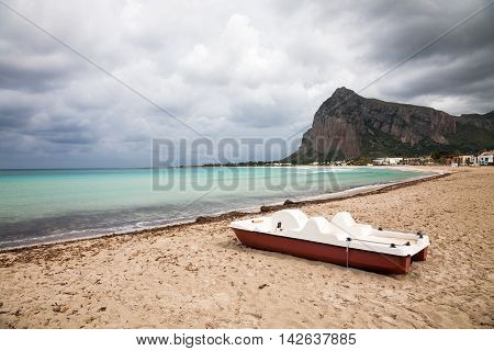 A cloudy sky in bad weather in San Vito Lo Capo in northern Sicily in the Trapani province italy
