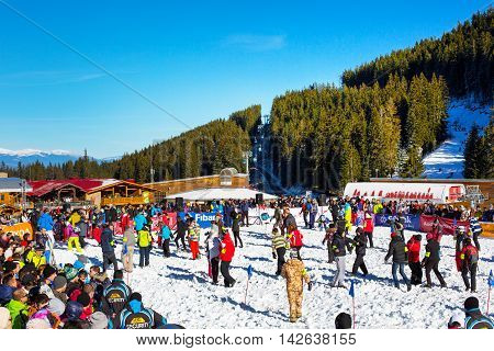 Bansko, Bulgaria - December 12, 2015: Bunderishka polyana, people participating in game Treasure hunters during ski season open