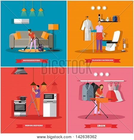 Cleaning and home service concept vector illustration. People cleaning house, ironing clothes and change light bulbs.