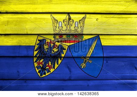 Flag Of Essen, Germany, Painted On Old Wood Plank Background