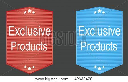 Sticker banner exclusive product two versions. Vector illustration.
