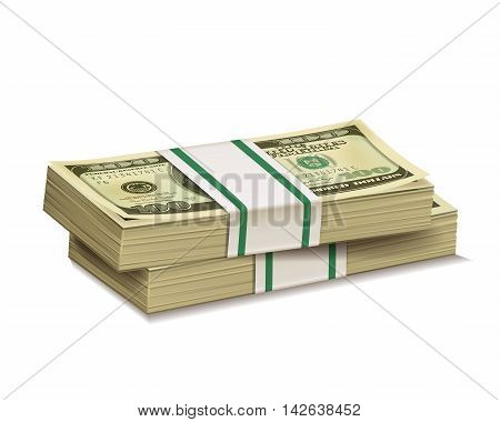 Stacks of dollar bill isolated on a white background.