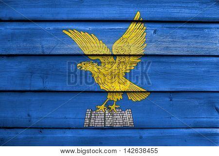Flag Of Friuli-venezia Giulia, Italy, Painted On Old Wood Plank Background