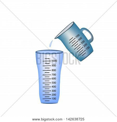 Beaker. Measuring cup. Pouring of measuring cups water into a glass. Vector illustration on isolated background.