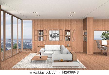 fictitious 3D rendering showing a modern living room and dining room with wooden beech wall covering