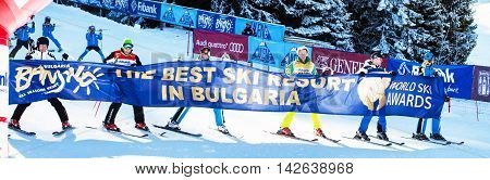 Bansko, Bulgaria - December 12, 2015: Open new ski season with Marc Girardelli, Markus Wasmeier and Petar Popangelov