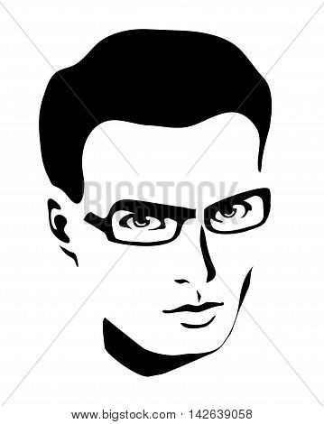 monochrome avatar mans face on a white background