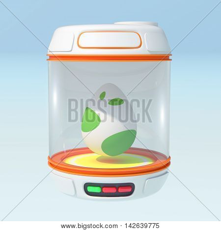 Egg in orange closed bank. 3d render