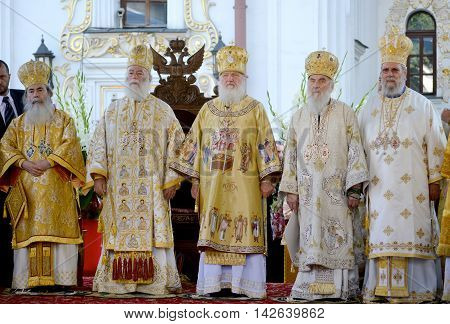 Kiev Ukraine celebration liturgy in honor of the baptism of Rus in Kiev Pechersk Lavra - 27 July 2013 -: Patriarch Kirill and the other bishops on the liturgy in Kiev in the Kiev Pechersk Lavra in festive vestments