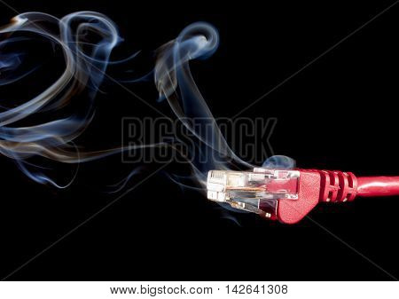 Red network connection so fast it is smoking