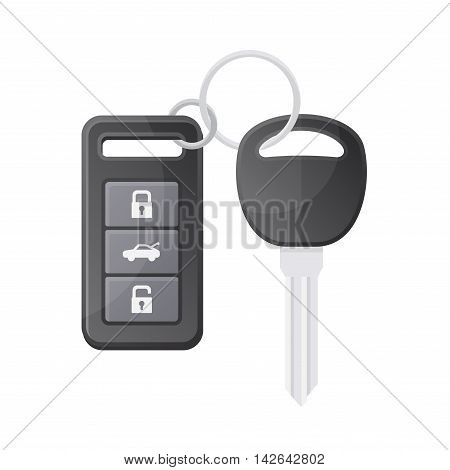 Car Key with Remote Control on White Background. Vector illustration