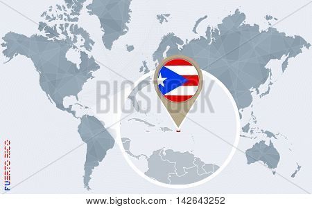 Abstract Blue World Map With Magnified Puerto Rico.
