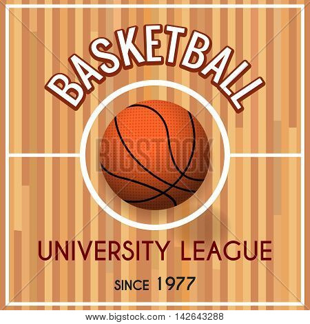 Basketball college or university league vector poster. Basket sport teams tournament