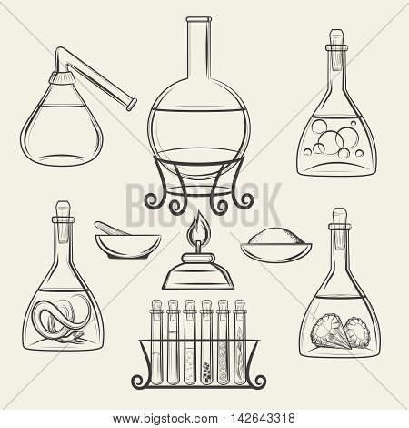 Alchemical vessels. Hand drawn chemistry and biology vintage science lab equipment. Vector illustration