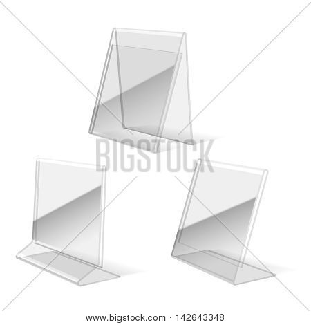 Clear plastic holder, paper business card stand vector illustration