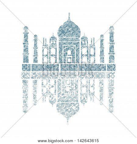unusual illustration of Taj Mahal India. It achieved as a lace